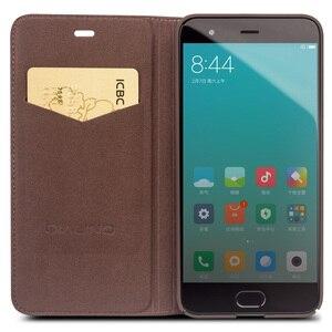 Image 5 - Capa carteira flip de couro genuíno qialino, proteção estilo carteira para xiaomi mi 6, mi6 saco do telefone da ranhura