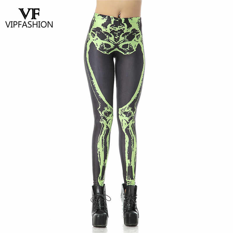 05d1a085bc6a6 VIP FASHION Elastic Fitness Women Halloween Casual Leggings Fluorescence  Black Green Skeleton Printed Plus Size Workout