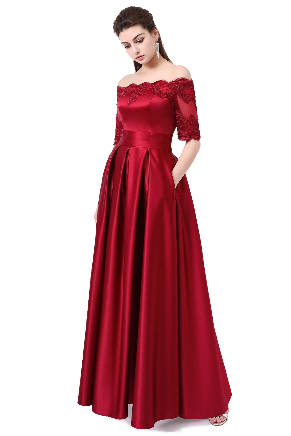 Ssyfashion 2017 Wine Red Lace Embroidery Luxury Satin Half