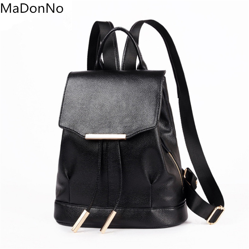 MaDonNo Brand Luxury Women Leather Backpack Casual Backpack Bag Teenager School Back Pack Mochila Escolar BBG011