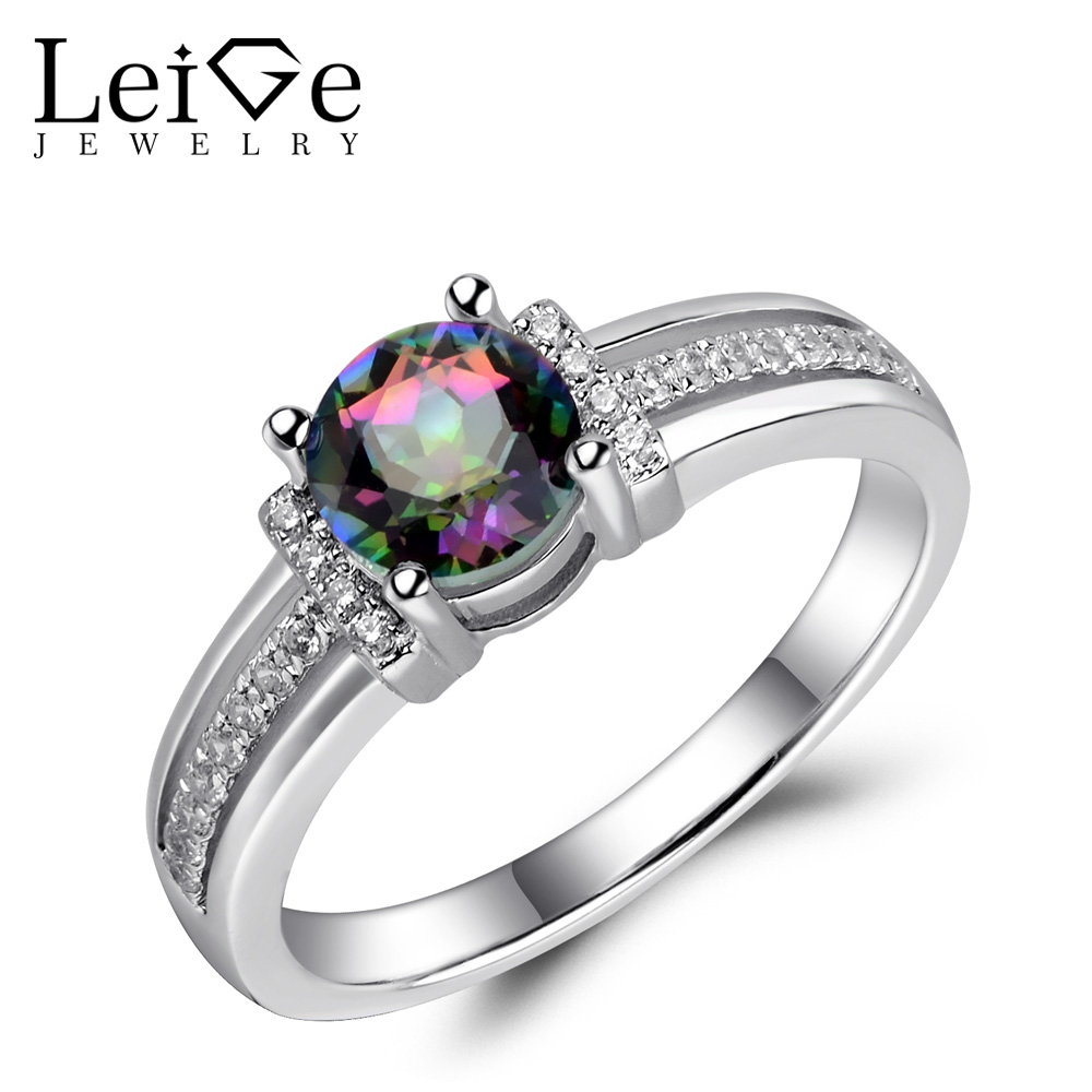 Leige Jewelry Mystic Topaz Ring Rainbow Gemstone Round Cut Sterling Silver 925 Fine Jewelry Wedding Engagement Rings for Women simple 925 sterling silver round rainbow natural moonstone rings for women girls wedding engagement jewelry finger bague aneis
