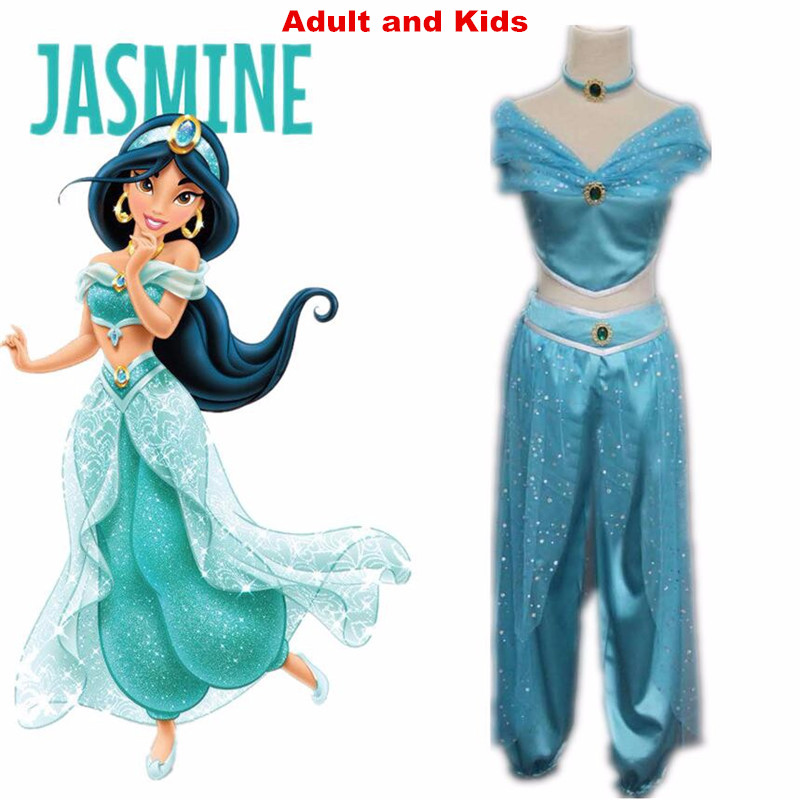 cosplay Aladdin  Princess Jasmine  costume Adult Halloween Costumes for women party sexy Jasmine dress
