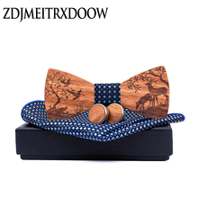 New arrival Wood Bowtie+Handkerchief+Cufflinks Sets Marriage Groom Wooden Bow Tie Bowknots Wedding Christmas elk Neck Ties