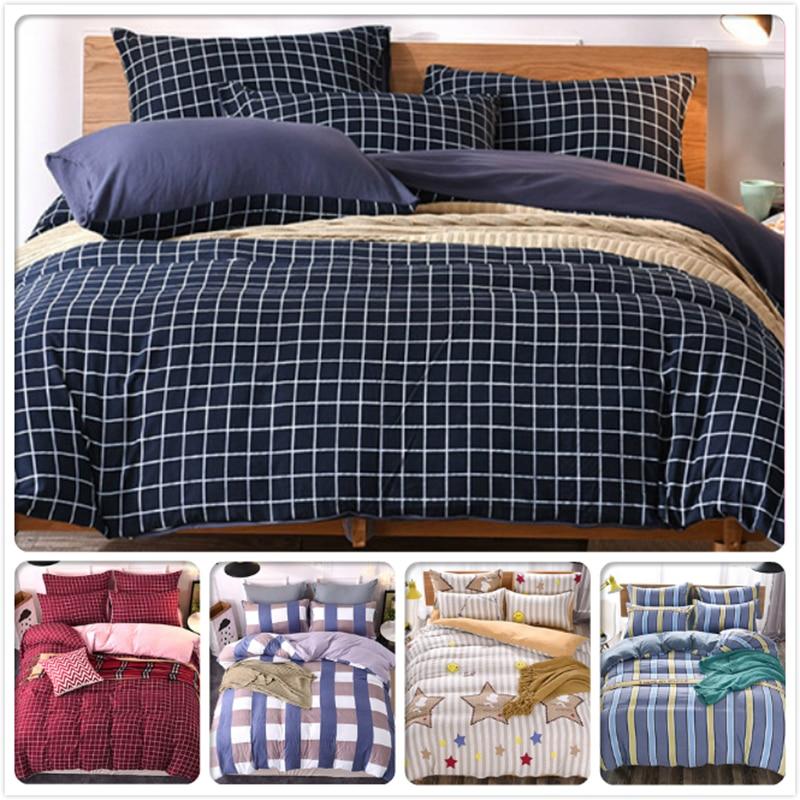 Blue Stripe Bedlinens 3/4 pcs Bedding Set Kids Bedclothes King Queen Double Size Duvet Cover 1.5m 1.8m 2m Flat Sheet Bed Linens