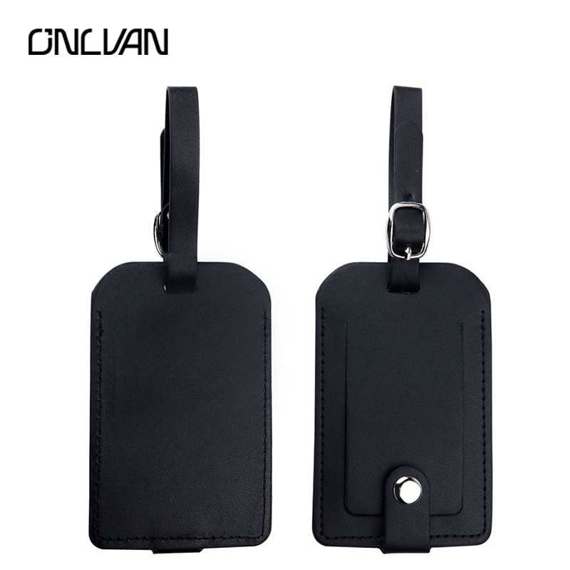 ONLVAN Luggage Tags Travel Accessories Suitcase Tag Name ID Address PU Leather Bag Tags with Empty Name Card travel organizer