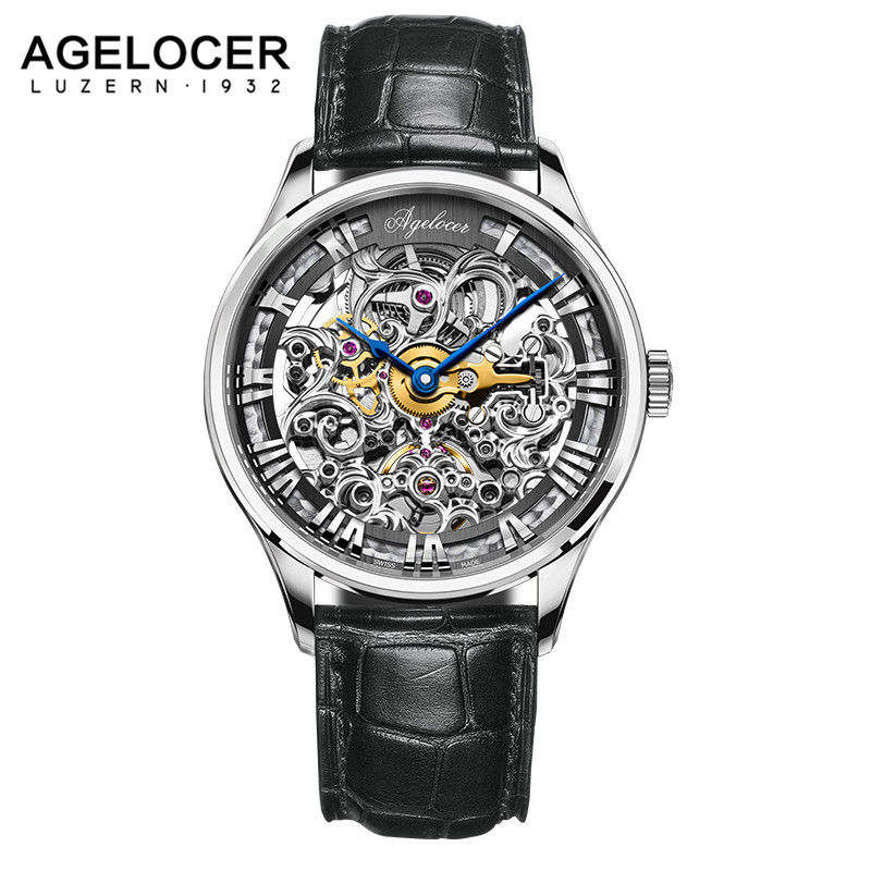 2017 AGELOCER Skenleton Watches Men Luxury Brand Men's Fashion Automatic Hollow Out Man Mechanical Watches relogio masculino 2016 new gold watches winner luxury brand men s fashion automatic hollow out man mechanical watches waches relogio masculino