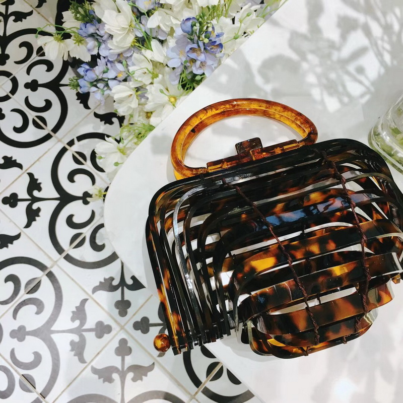 Hollow out Basket Cage Bags Acrylic Lantern bag Women Wedding Party Handbags Bags Summer Beach Bags Unique Chic Top-handle Purse chic faux gem embellished hollow out necklace for women