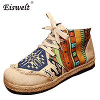 EISWELT Lace Up Cotton Fabric Casual Flats Loafers Linen Hemp Round Toe Totem Embroidered Ethnic Style