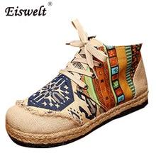 Eiswelt/шнуровке хлопок ткань повседневные туфли на плоской подошве Мокасины льняные конопли круглый носок тотем вышитые этнические Стиль модная Милая обувь # ZQS071