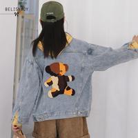 Women Denim Jacket 2019 Autumn Winter Fashion Chic Embroidery Bear Ulzzang Female Casual Loose Boyfriend Basic Outwear Coat