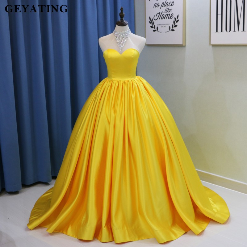 Sparkly Crystal Beaded Gold Yellow Long Ball Gown