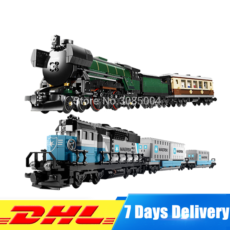 DHL LEPIN Technic Series 21005 Emerald Night train + 21006 Maersk Train Model Building Kits Block Bricks Toys Clone 10194 10219