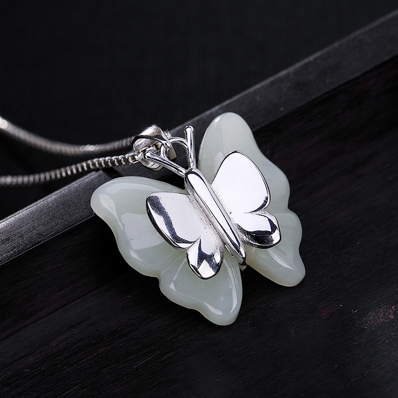 Genuine Sterling Silver 925 Butterfly Jade Pendant For Women With Gemstones Vintage Lucky Pendant ColganteGenuine Sterling Silver 925 Butterfly Jade Pendant For Women With Gemstones Vintage Lucky Pendant Colgante