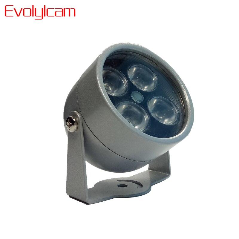 Evolylcam 4 IR LED Infrarouge Illuminateur Lumière IR Nuit Vision pour CCTV Caméras de Sécurité Fill Éclairage métal Gris Dôme Étanche