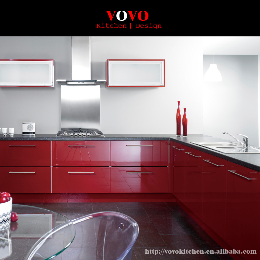 American High Gloss Red Kitchen Cabinet
