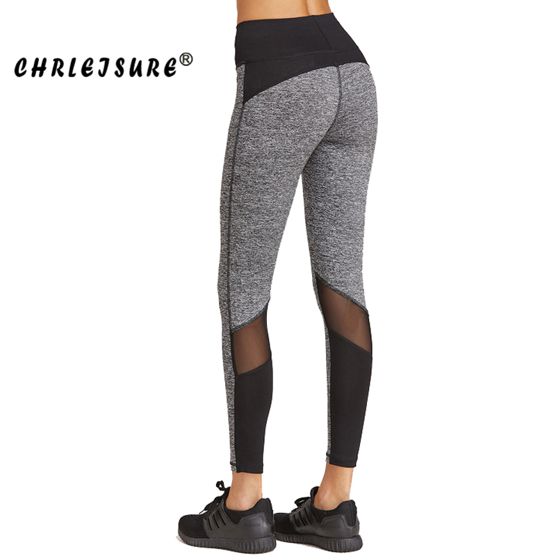 CHRLEISURE Mesh Leggings Black Grey Patchwork Fitness Pants Trousers Legins Large Size Elasticity Push Up Women Leggings