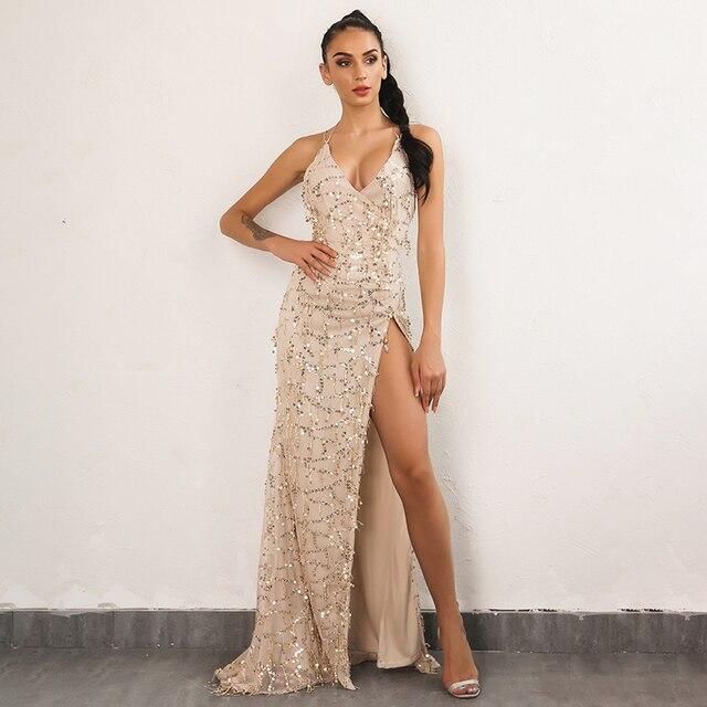 de Sexy Club noche Sequined Maxi elegante Mujeres la de Long moda Fiesta la 2018 Vestidos vestido Mujeres Gold OdqSpn