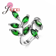 JEXXI Funny Leaves Shape 2016 NEW Arrival Women Finger Rings 925 Sterling Silver Female Top Quality Green Crystal Ring