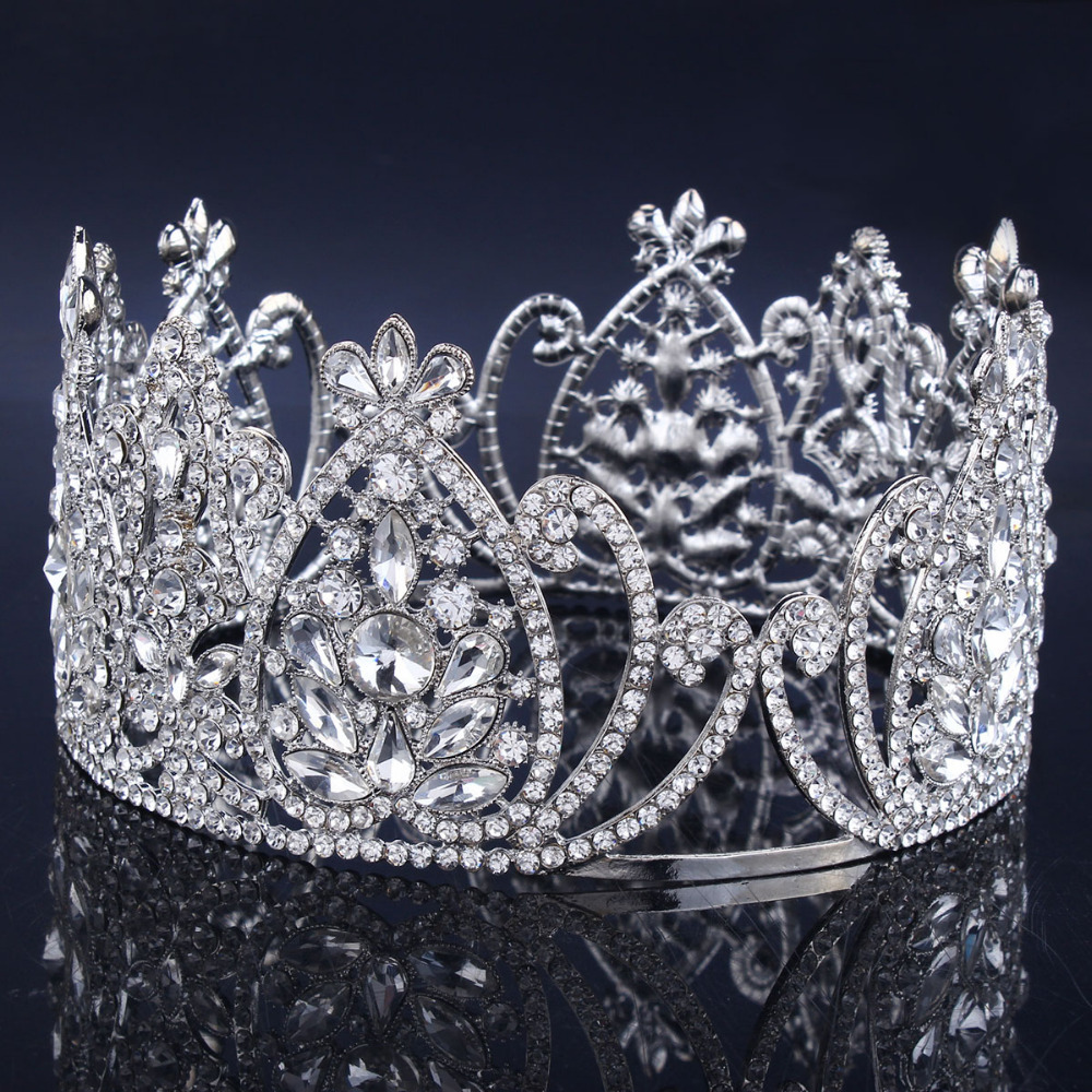 Crowns full circle round tiaras rhinestones crystal wedding bridal - Aliexpress Com Buy 2017 New Crystal Bridal Tiara Wedding Hair Accessories Rhinestone Crown Round Symmetric Tiara Crown Wedding Pageant From Reliable