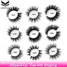 AMAOLASH 100 Pairs Eyelashes 3D Mink Lashes High Volume Soft Crisscross Eyelashe Extension Natural Long False Free DHL