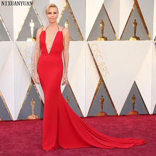 cc85489931 88th Oscars Academy Awards 2019 Charlize Theron Celebrity Dresses with Deep  V Neckline Mermaid Red Carpet Dress for Party