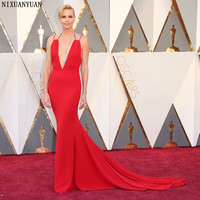 88th Oscars Academy Awards 2019 Charlize Theron Celebrity Dresses with Deep V Neckline Mermaid Red Carpet Dress for Party