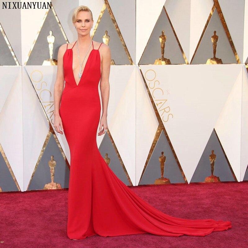 88th Oscars Academy Awards 2019 Charlize Theron robes de célébrités avec décolleté en V profond sirène tapis rouge robe pour la fête