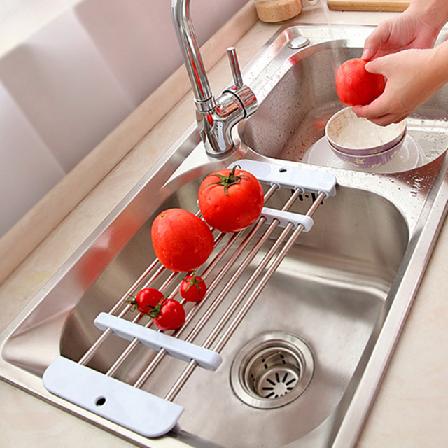 New Retractable Stainless Steel Sink Drainer Fruit Vegetable Shelf Dryer  Storage Rack Holder Tray Kitchen Accessories