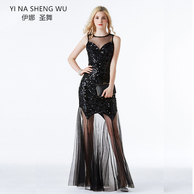 Sexy Retro Party Dress Women Long Skirt Backless Adult Sequined Lady High Quality Evening Dinner Party Club Ballroom Dresses