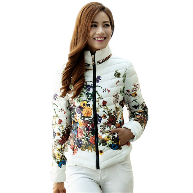 Chaquetas Mujer 2017 New Autumn Winter Jacket Slim Cotton   Parkas   Women Flower Coats Plus Size Zippers Outerwear Clothing AB029
