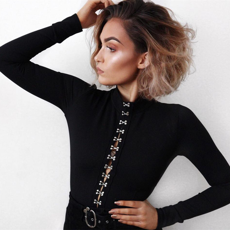 c8da017732 Aliexpress.com   Buy HEYounGIRL Bodycon Black Bodysuit Autumn Turtleneck  Long Sleeve Women Bodysuits Buttons Casual Skinny Jumpsuit Rompers Womens  from ...