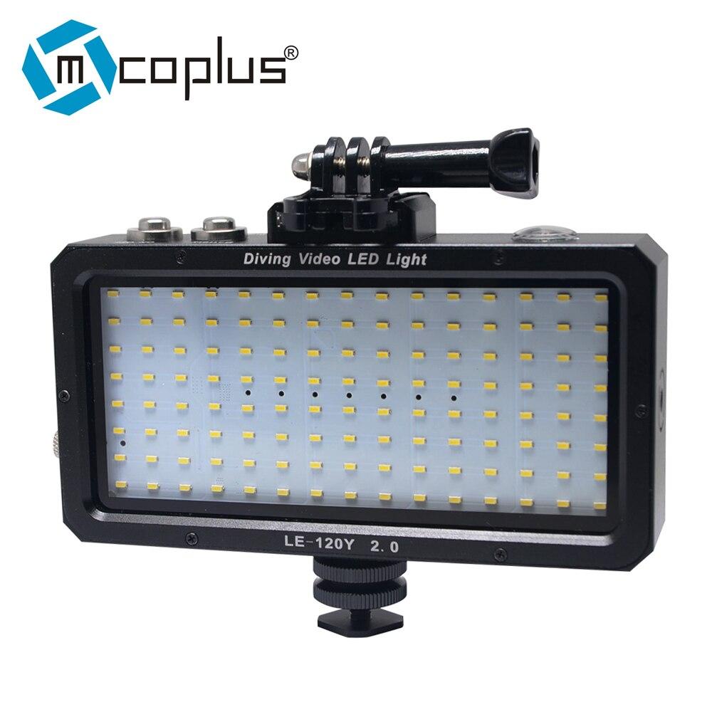 Mcoplus LE-120Y étanche sous-marine vidéo lumière LED 25 M/82ft 5500 K pour caméra numérique GOPRO SJCAM caméra d'action