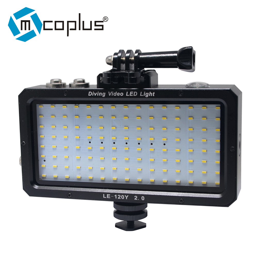 Mcoplus LE-120Y Underwater Video LED light 25M/82ft 5500K 1500LM with Rechargeable Built-in Lithinum Battery for Digital Camera mcoplus le 160y 25m 82ft 5500k 2000lm diving underwater waterproof video led light for digital camera gopro hero camera
