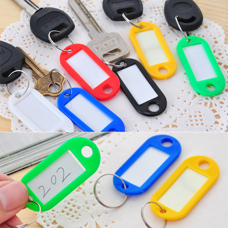 50Pcs/Sset Colorful Metal Plastic Travel Key Label Tags Luggage ID Card Name Key Tags With Keyring for Outdoor Travel Kit