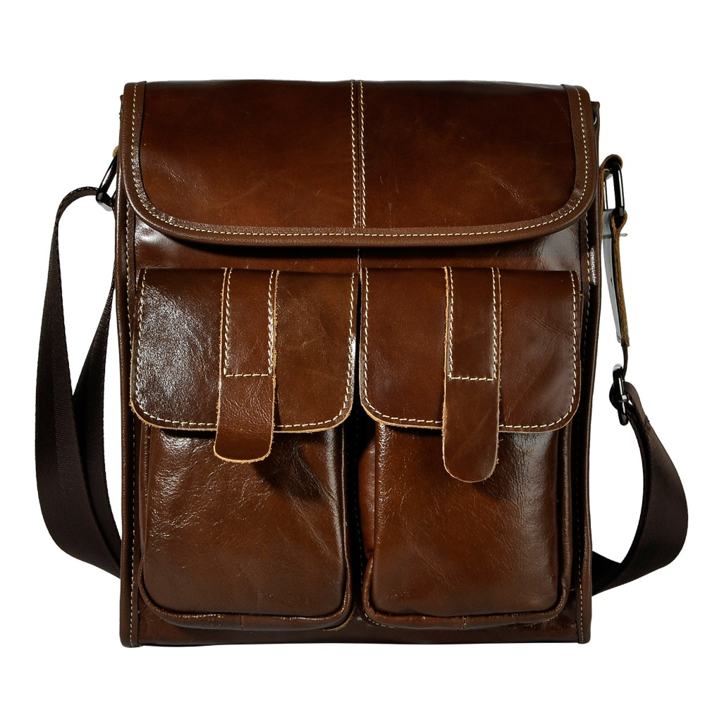 Real Leather Male Design One Shoulder Messenger bag cowhide fashion Cross-body Bag 10 Pad University School Book bag 009b burgundy one shoulder frill layered design jumpsuit