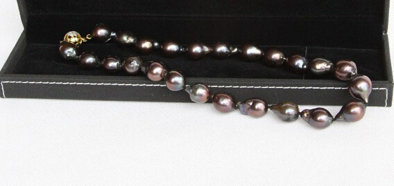 xiuli 003525 GENUINE BAROQUE 16--19MM BLACK SOUTH SEA TAHITIAN PEARL NECKLACE 925sc