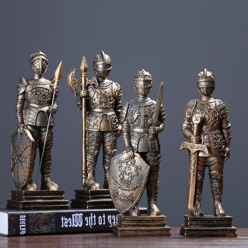 Medieval European Tin Samurai Warrior sculpture/ Doll Cavalry Soldier Knights /Soldier Tin resin statue Home Decorations