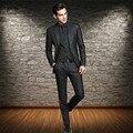 Черный смокинг для жениха из трех частей, мужской костюм с отворотом, Свадебный для шафера, свадебные вечерние костюмы на выпускной (пиджак +...