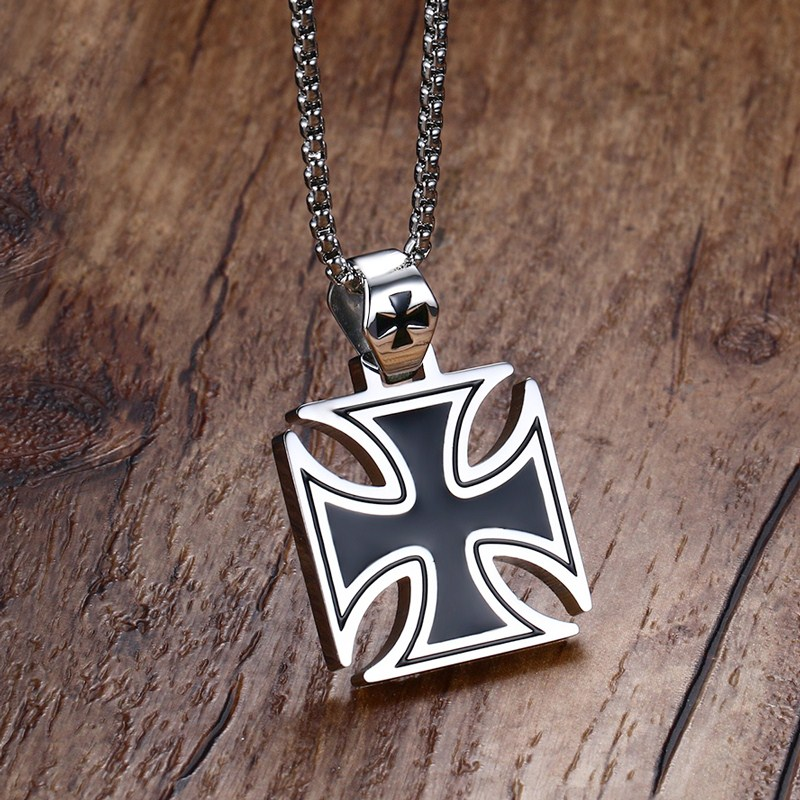 Mprainbow Mens Necklace Stainless Steel Vintage Knights Templar Iron Cross Pendant Necklace for Men Biker Maltese Cross Jewelry vintage ivory decorated carving stainless steel pendant necklace