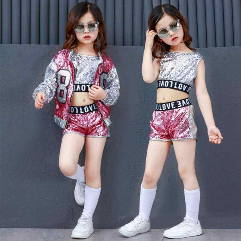 8ca75c7a5 Niños hip Hop Jazz traje moderno baile ropa niños Sequined deportes Ropa  para Niñas 5-