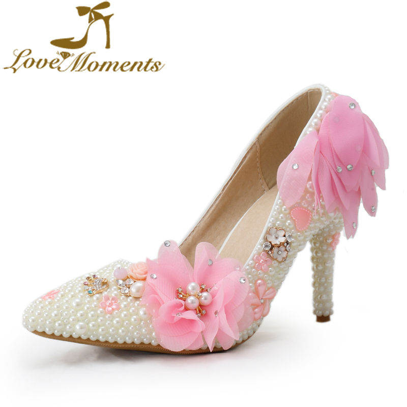Pearl handmade bridal shoes white/ pink lace flowers wedding shoes pointed-toe pumps thin heels shoes woman's high-heel pumps