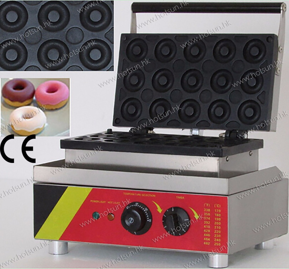 Commercial Use Non stick 110v 220v Electric 15pcs Doughnut Donut Maker Iron Machine Baker