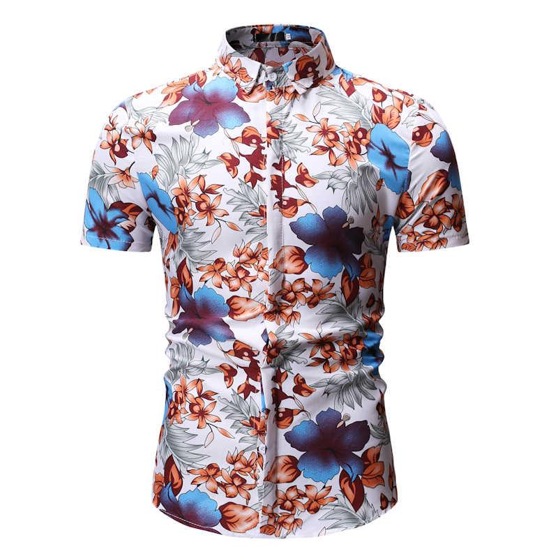 Красная рубашка с цветочным принтом для мужчин 2019 летняя новая гавайская рубашка с короткими рукавами мужские пляжные вечерние повседневные рубашки с цветочным принтом Chemise Homme XXXL