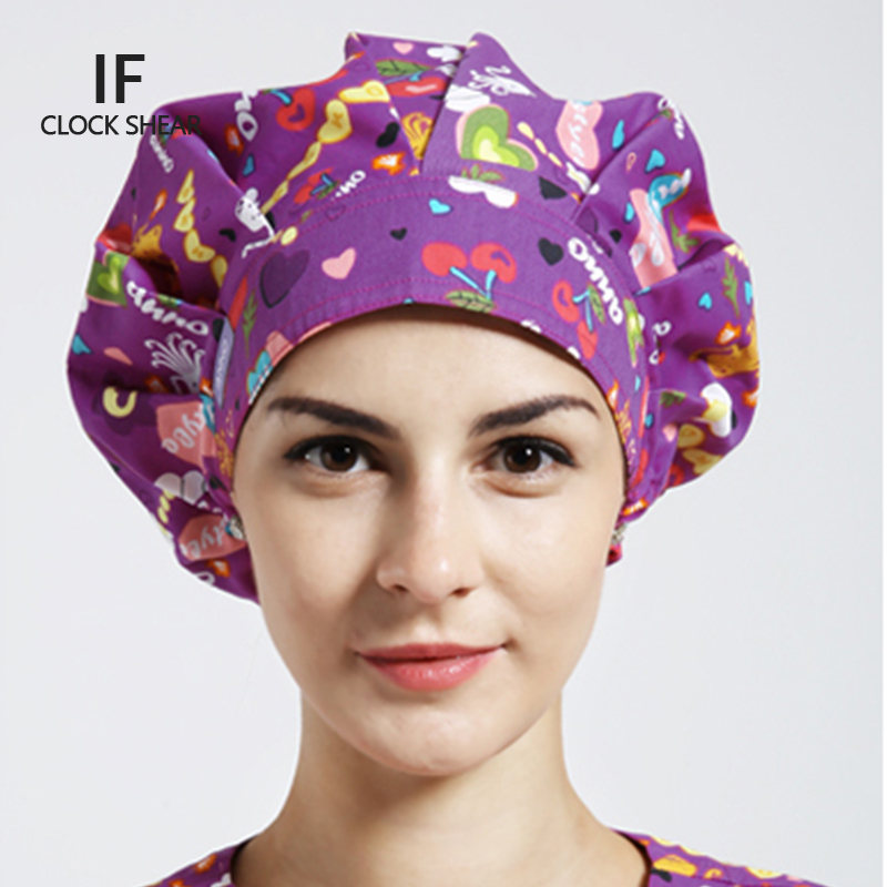 IF Cotton print hat men and women beauty salon work cap Operating room hat doctor nurse dental scrub bouffant cap caps