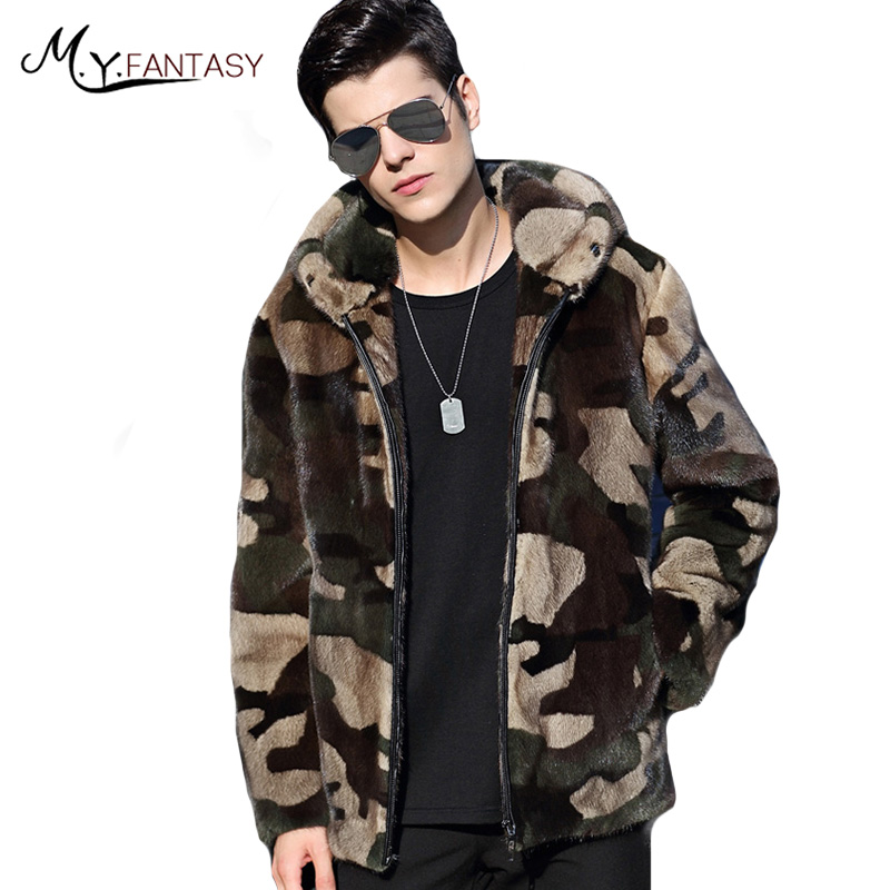 Coat Real-Fur Winter Casual Velvet Business Stand with Hat Swan Youth M.Y.FANSTY Man