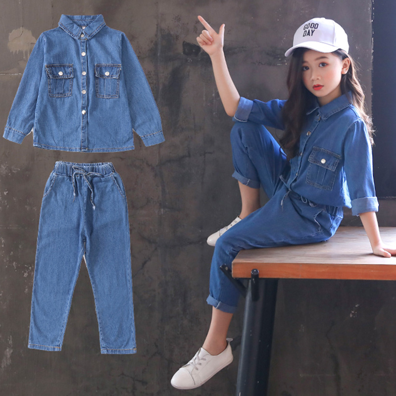 Children Clothing Set casual outfit Girls autumn jeans Double pocket denim two piece set Kids jeans and pants 30# недорого