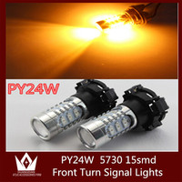 Tcart 2x PY24W White Yellow LED Bulb Front Turn Signal Lights For BMW E90 E91 E92