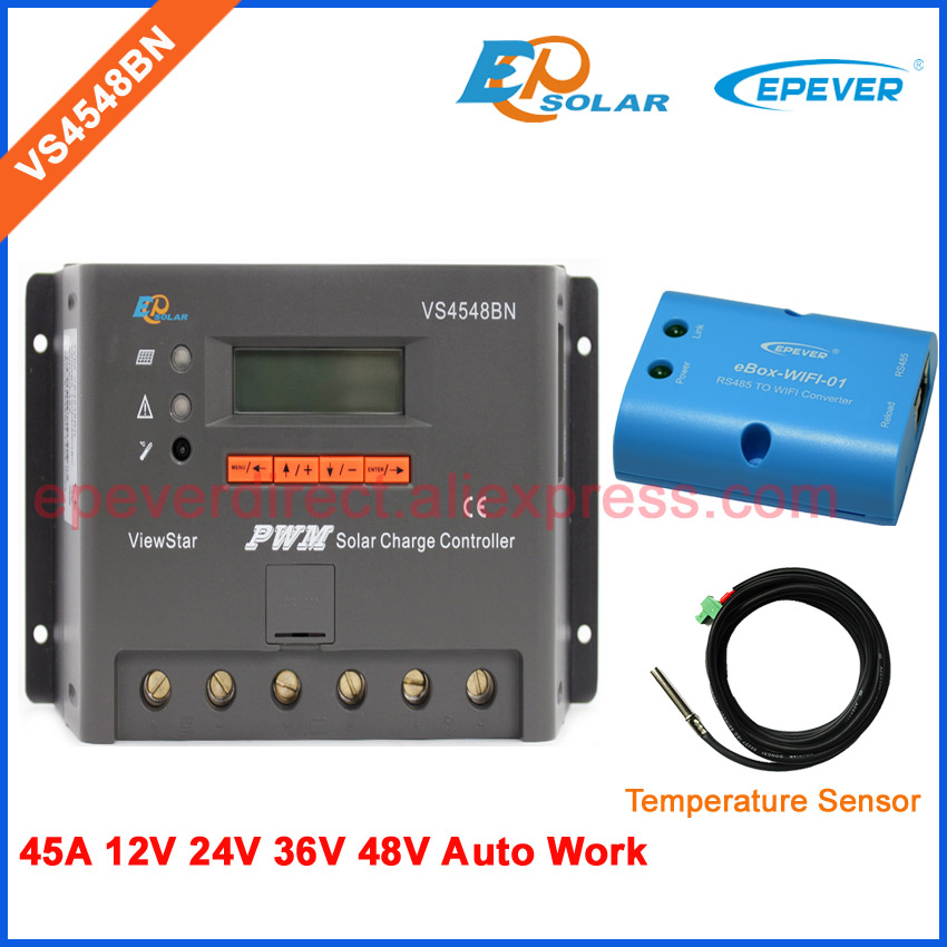 45A 48V battery charging regulator EPEVER ViewStar PWM series solar controller VS4548BN 36V 24V Wifi eBOX Mobile Phone APP 45A 48V battery charging regulator EPEVER ViewStar PWM series solar controller VS4548BN 36V 24V Wifi eBOX Mobile Phone APP