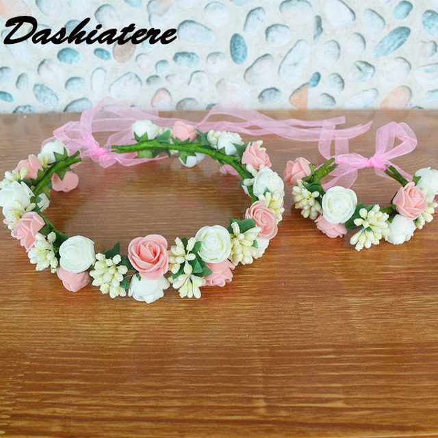 Bridal Hair Garland Ivory Pink Foam Rose Bridesmaid Flower Crown Wrist  Corsage Flowers Birthday Party Girls cb57d968bb4d
