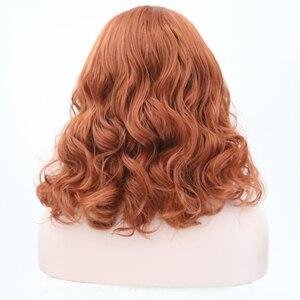 Image 5 - カリスマショートかつら波状毛サイド部分合成レースフロントかつら橙赤色グルーレス耐熱ボブのかつら女性